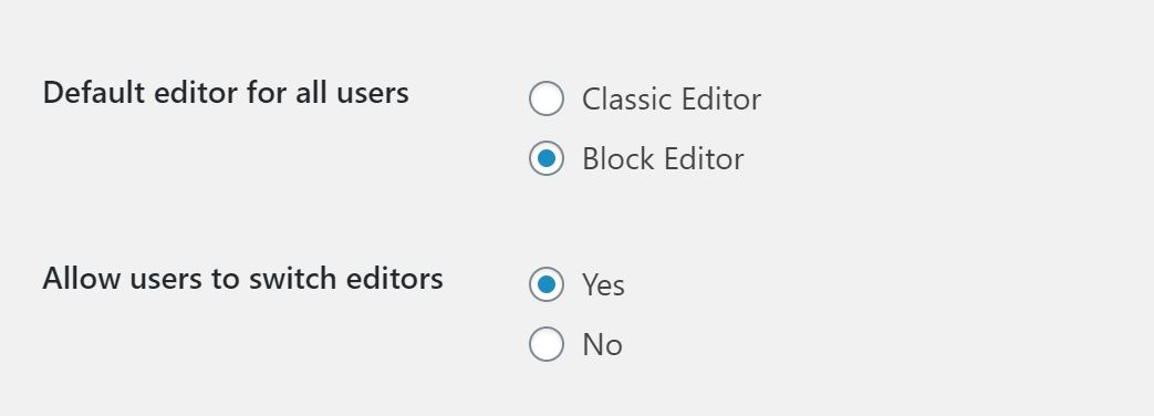 Screenshot of Site editor settings